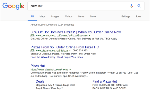 Domino's Pizza bids on Pizza Hut's branded keywords.  Pizza Hut then bidding on it's own brand name to get a promotional offer up front.